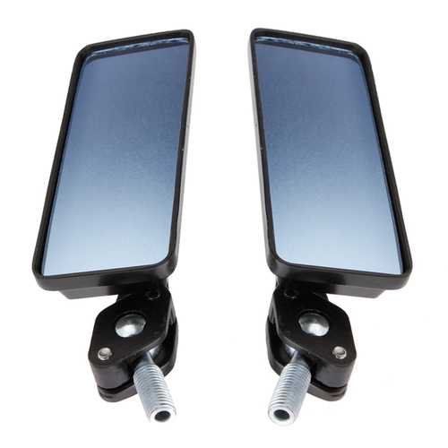 8mm/10mm Motorcycle Review Mirrors Blue Glass Lens Chrome Rrectangle
