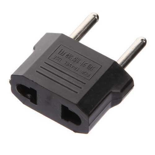 Flat to Round Plug Adapter Converter for Europe black