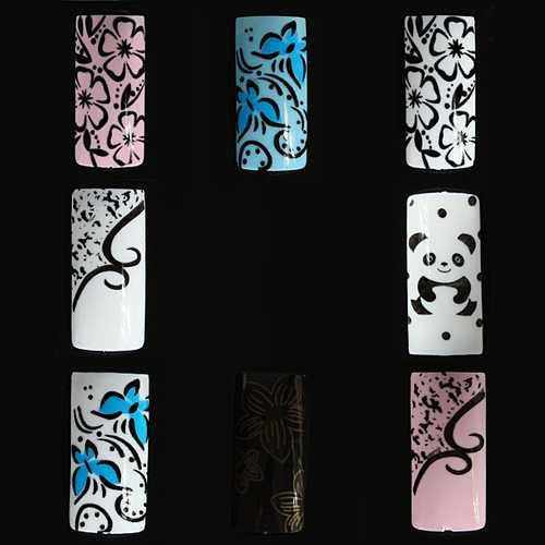 100pcs Flower Panda Pattern Half False DIY Nail Art Tips