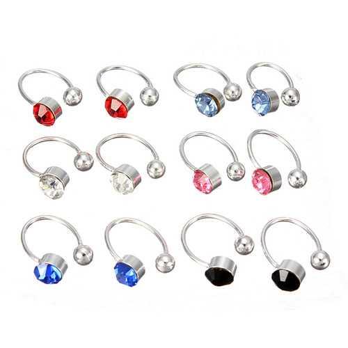 2Pcs No Piercing Crystal Rhinestone Nose Cuff Clip Earrings
