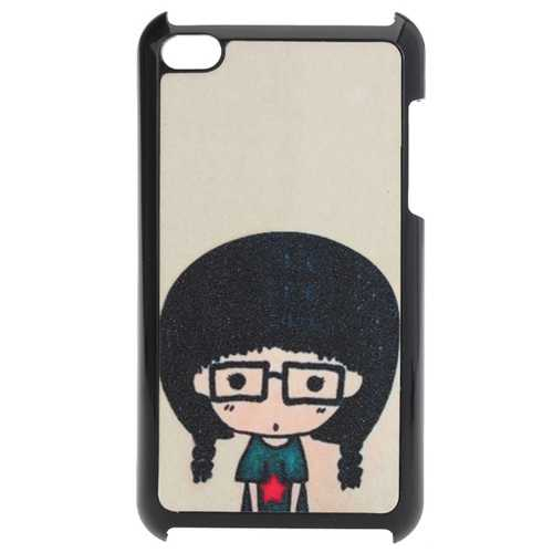 Cute Cartoon Little Glasses Gril Frosted Plastic Case For iPod Touch 4