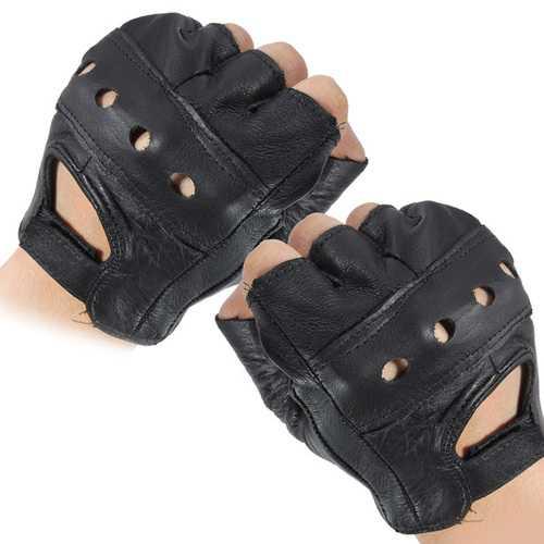 Medium Fingerless Leather Motorcycle Glove Vented Cowhide Multi-use