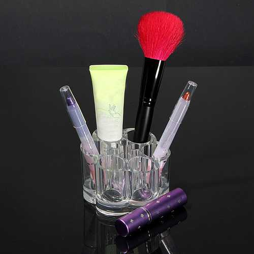 Acrylic Clear Rounded Cosmetic Container Makeup Storage Organizer
