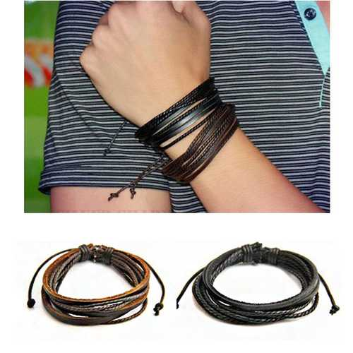Fashion Unisex Multilayer Leather Woven Braid Rope Bracelet