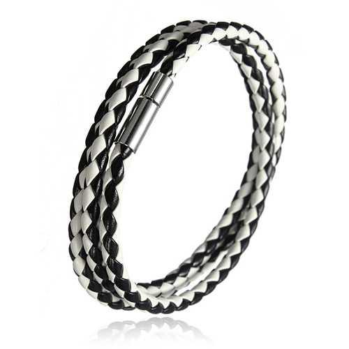 Handmade Braided Leather Stainless Steel Magnetic Buckle Bracelet