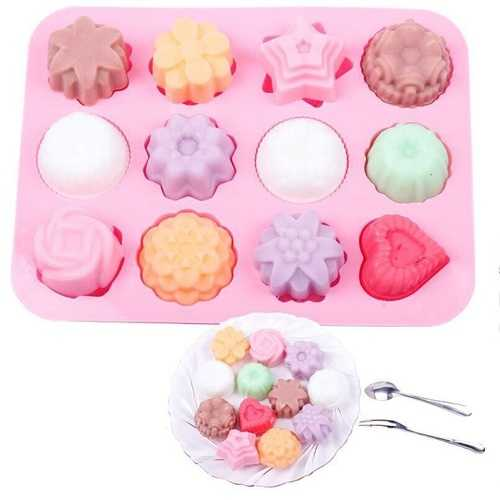 12 Flowers And Trees Silicone Cake Mold Chocolate Mold Handmade Soap Mold DIY Baking Tools