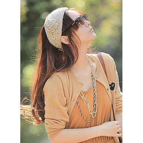 Flower Hand Knit Crochet Head Wrap Ear Warmer Headbrand Headwear