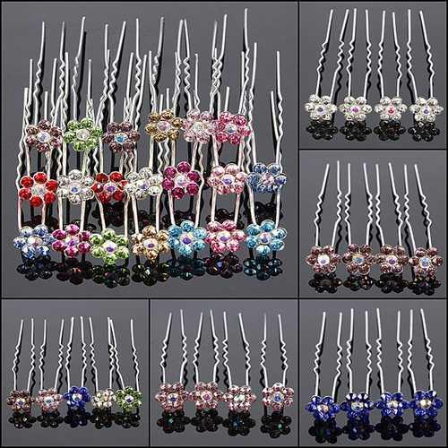 20PCS Flowers Crystal Alloy Hair Pins Wedding Hair Accessories