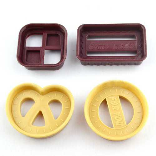 4pcs Geometry Design Cutter Fondant Cake Cookies Sugarcraft Mold