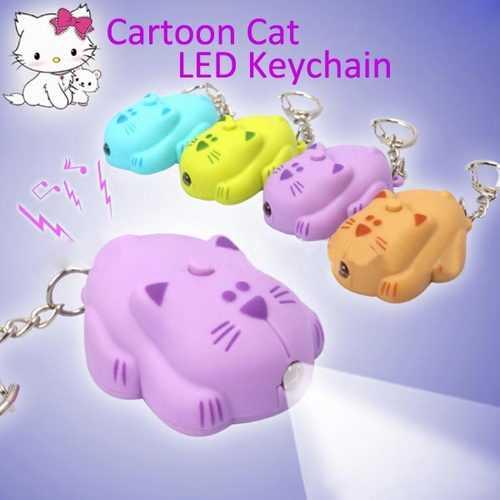 BYSUN Sound Creative Cartoon Cat LED Keychain Color Optioanl