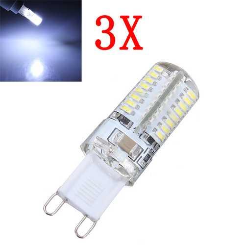 3X G9 3W Pure White 64 SMD 3014 LED Corn Light Bulbs AC 220V