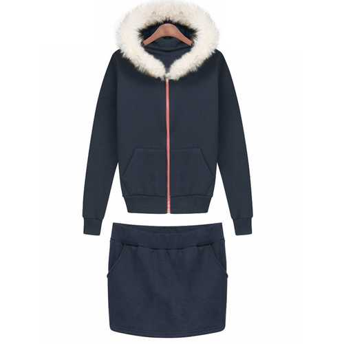 Royal Blue Rabbit Fur Collar Fleece Thicken Hoodie Suit