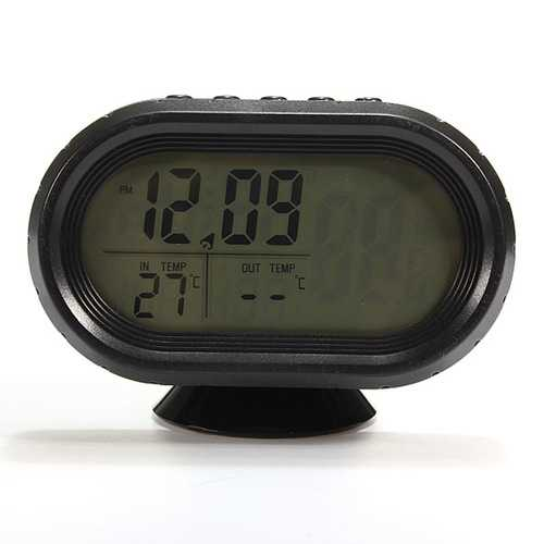 12V Vehicle LCD Digital Thermometer Car Voltmeter Monitor Alarm