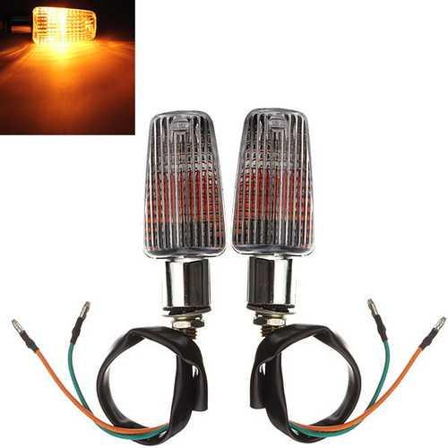 Universal Chrome Motorcycle Turn Indicators Signal Lights Amber Light