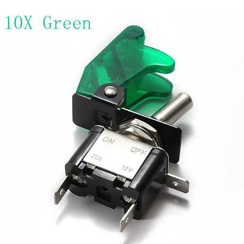 10x Green Car Cover LED SPST Toggle Rocker Switch Control 12V 20A