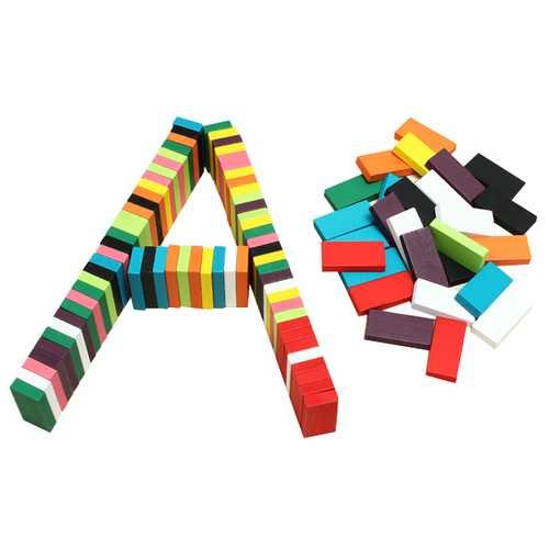 100pcs Many Colors Authentic Standard Wooden Children Domino Toys