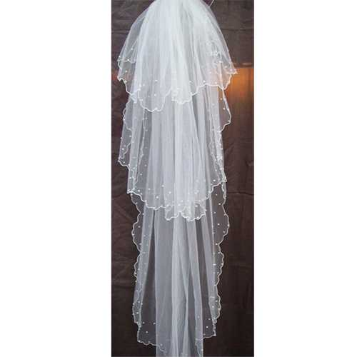 Long White Wedding Bridal Veils 1.5M Cathedral Sticky Bead Veils