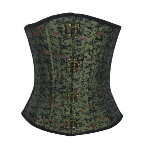 Army Green Retro Pattern Sexy Waist Bustier Cotton Bone Shaper Corset