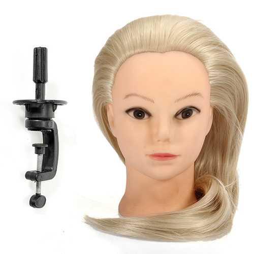 18 Inch Blonde Fiber Hair Hairdressing Training Head Model