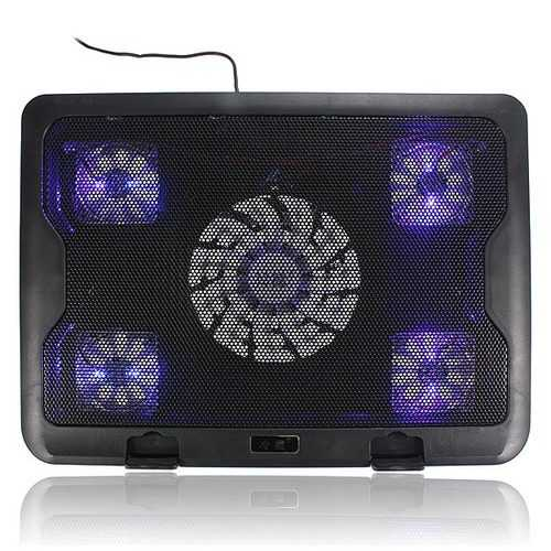 5 Fans LED USB Cooling Adjustable Pad For Laptop Notebook 7-17inch