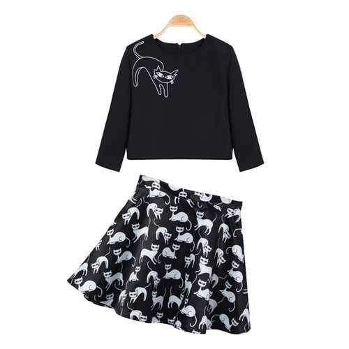 Cats O-Neck Long Sleeve Top Cats Short Skirt Twinsett