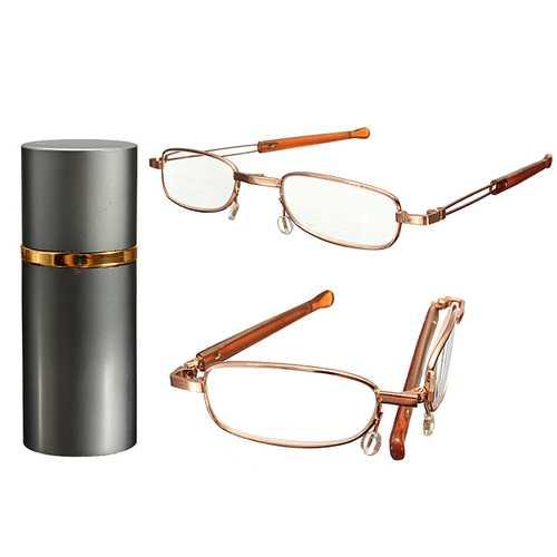 Dark Gray Brush Pot Aluminum Shell Reading Glasses