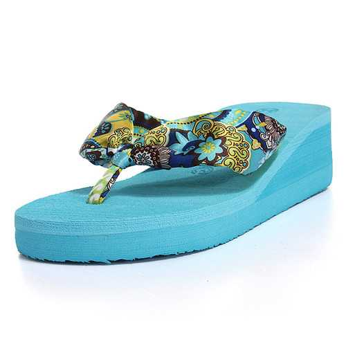 Bohemia Flower Flip Flops High Platfrom Slippers Beach Shoes