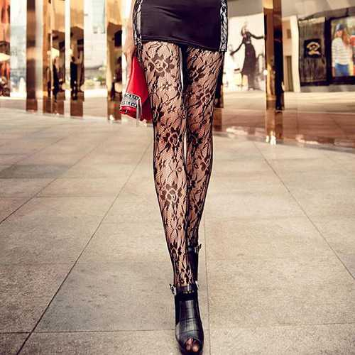 Black Rose Lace Sexy Fish Net Breathable Pantyhose Stockings