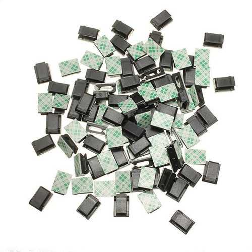 100 Pcs Black Plastic Wire Tie Rectangle CablE-mount Clip Clamp Self-adhesive
