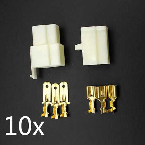 10 x Motorcycle Scooter Male Female 3 Way Connectors 6.3mm Terminal