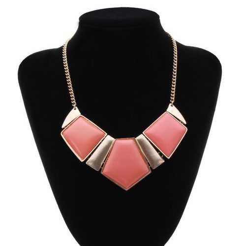 Geometric Pendant Statement Necklace Gold Plated Chain Choker