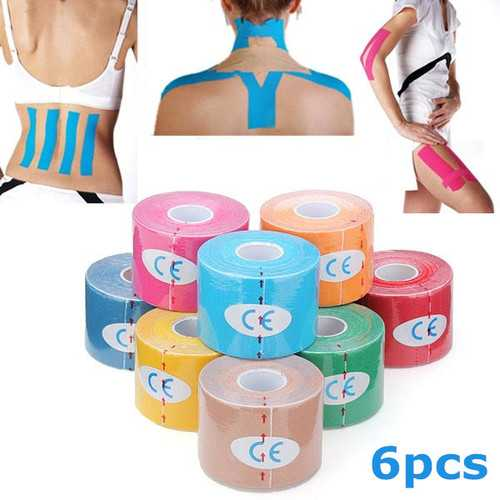 6pcs Yellow Kinesiology Tape Sports Muscles Care Therapeutic Bandage