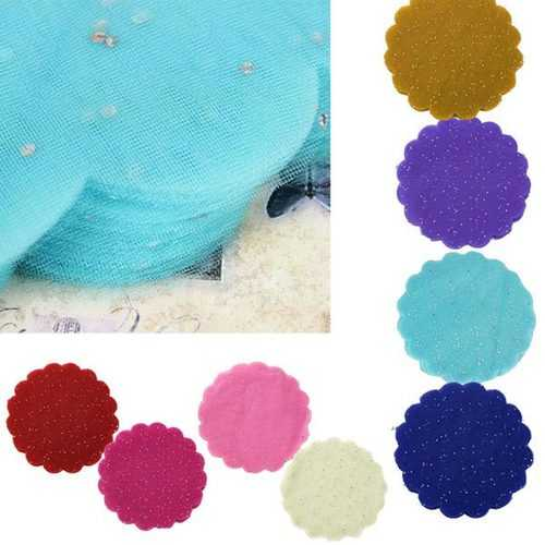 100PCS Candy Color Glitter Tulle Round Circles Wedding Gift Wrap DIY