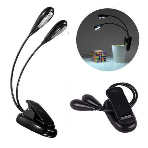 Flexible Dual Arm 8 LED Clip Desk Light Book Reading Laptop Stand Lamp
