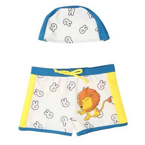 Child Swimming Trunks Lion Cartoon Trunks With Hat Swimwear Set