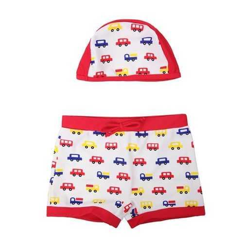 Cars Cartoon Child Swimwear Kids Swim Trunks With Hat