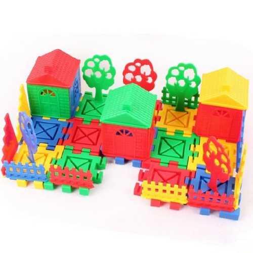 Children Educational Toys DIY Building Plastic Blocks Colorful House