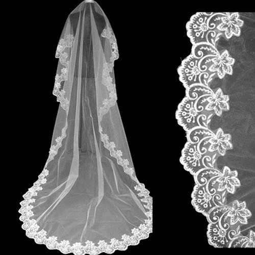 3M Large Tail Soft Yarn Lace Bridal Veil Wedding Accessories