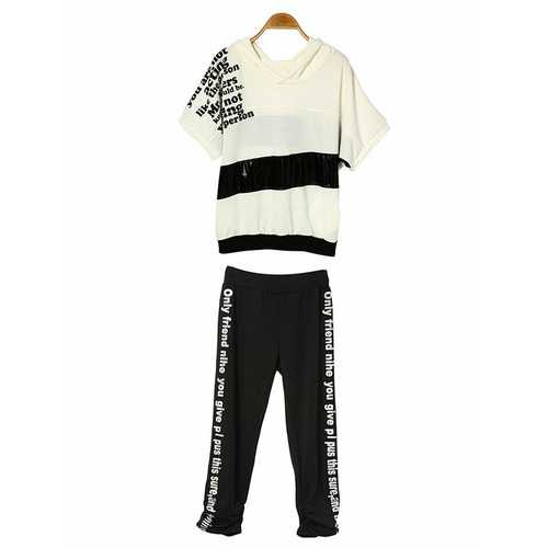 Women Letter Printed Cotton Casual Sport Suit