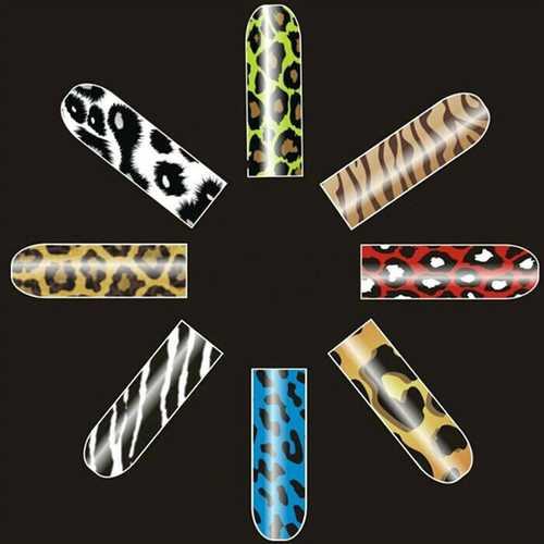 16 PCS Leopard Zebra Nail Art Polish Metal Full Stickers