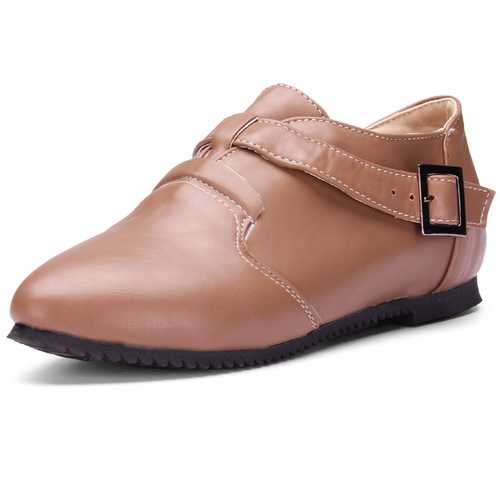 Buckles Leather Shoes Rodents Non-slip Shoes Simple Flat Shoes
