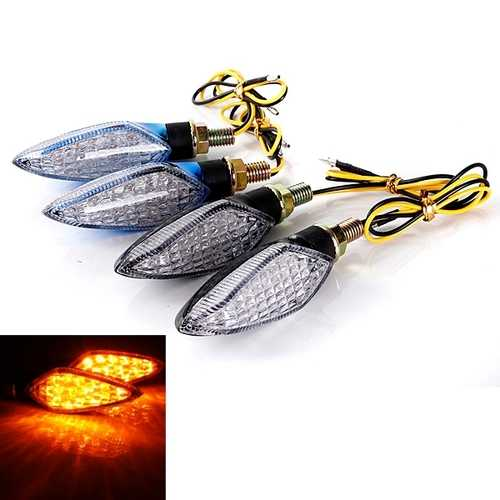 15LED Motorcycle Turn Signal Indicator Light Lamp Black Blue