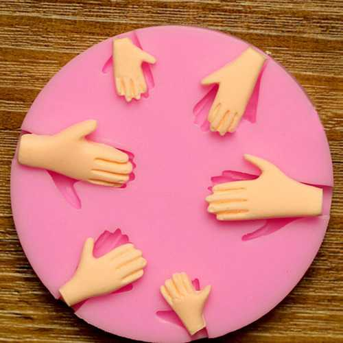 3D Silicone 6pcs Palm Cake Mold Fondant Chocolate Mold