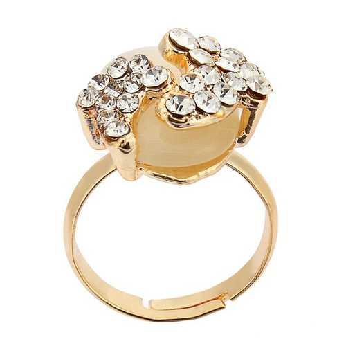 Gold Plated Lovely Crystal Little Feet Alloy Opal Rings For Women