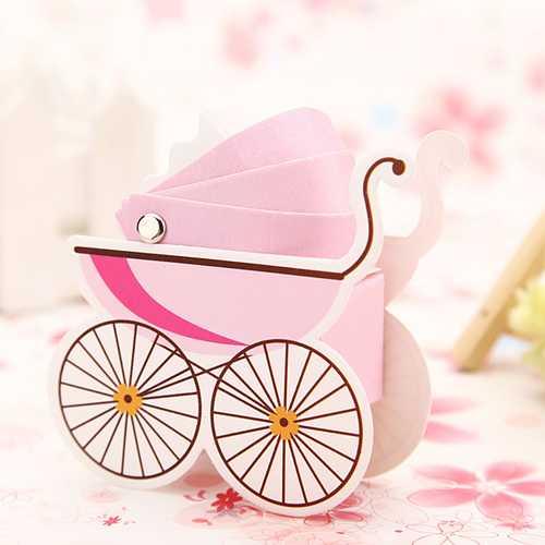 10pcs Korean Wedding Favor Baby Shower Baby Stroller Candy Box