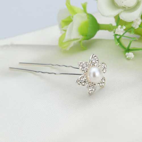 Bridal Wedding Hairpin Rhinestone Flower U-clip Headdress