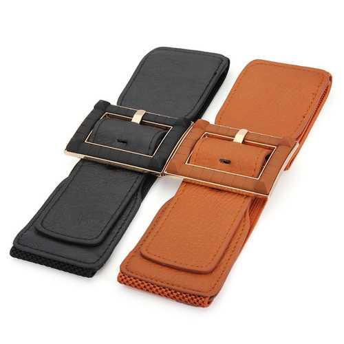 Women Fashion Elastic Waist Belt Women Slender Leather Wide Belt