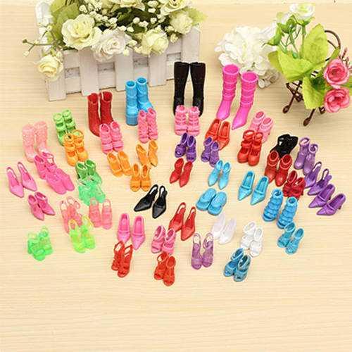 60 Pairs Trendy Multiple Styles Heels Sandals Doll