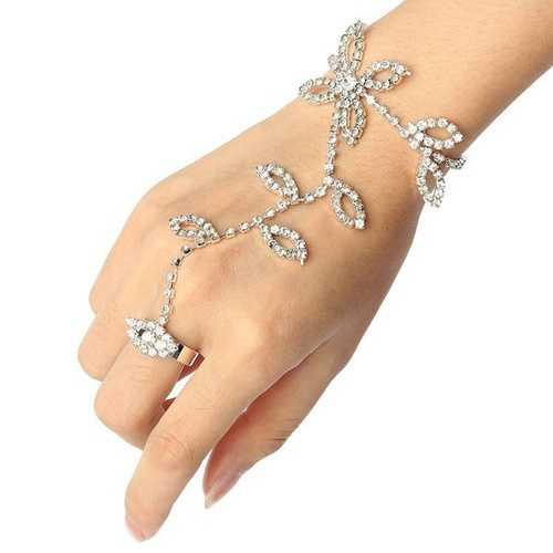 Silver Plated Leaves Rhinestone Ring Bracelet Crystal Metal Chain