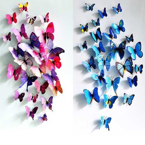 12Pcs 3D Butterfly Wall Sticker Fridge Magnet Home Decor Art Applique Decor Sticker